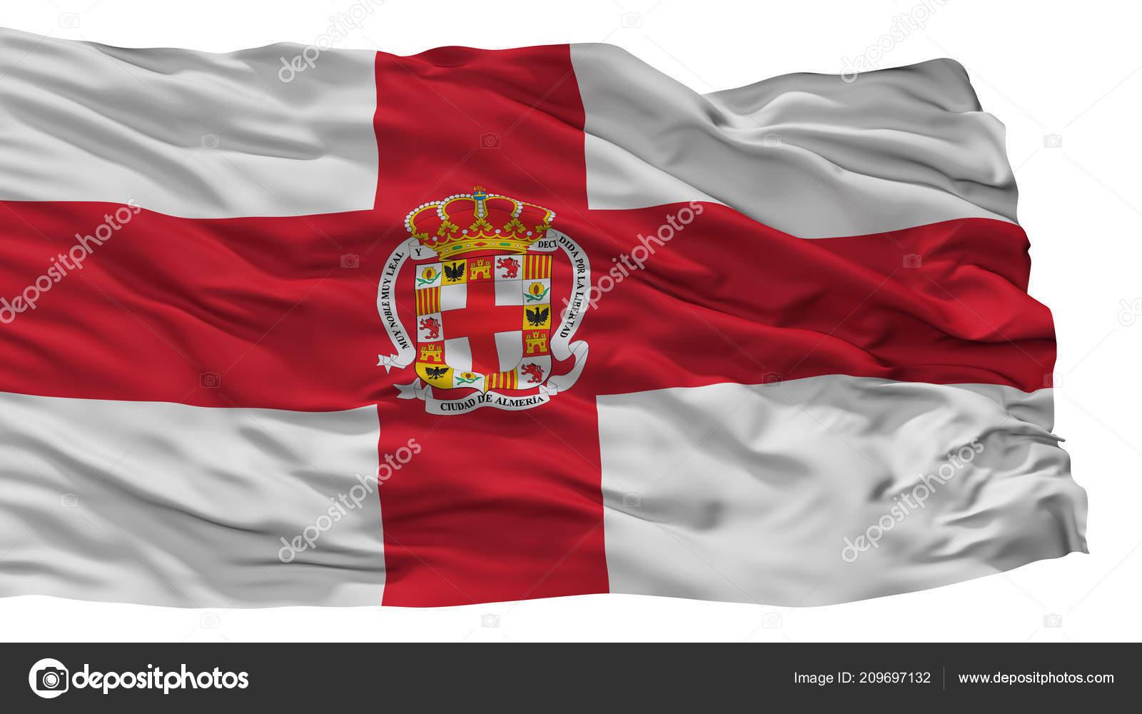Almeria City Flag Spain Isolated On White Background Stock