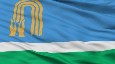 Oktyabrsky City Flag, Russia, Bashkortostan, Closeup View