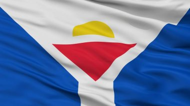 Saint Martin Fictional Flag, Closeup View, 3D Rendering