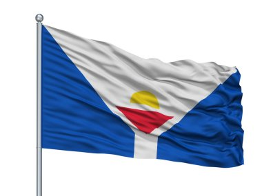 Saint Martin Fictional Flag On Flagpole, Isolated On White Background, 3D Rendering