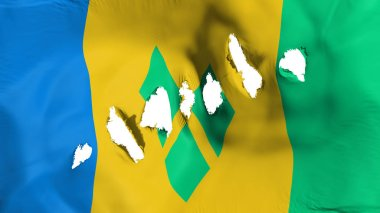 Saint Vincent and Grenadines flag perforated, bullet holes