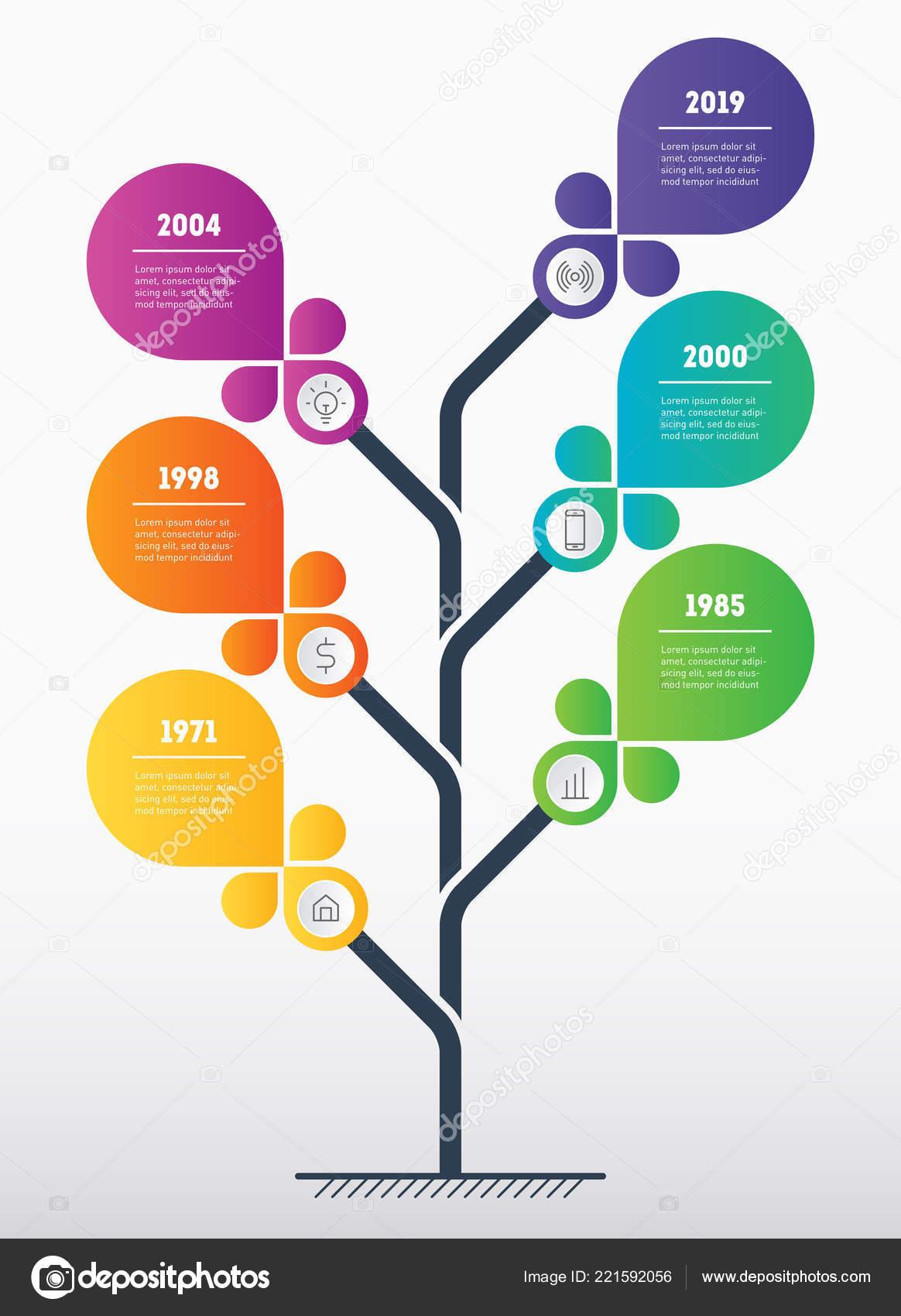 Vertical Business Presentation Concept Template Tree Info Chart