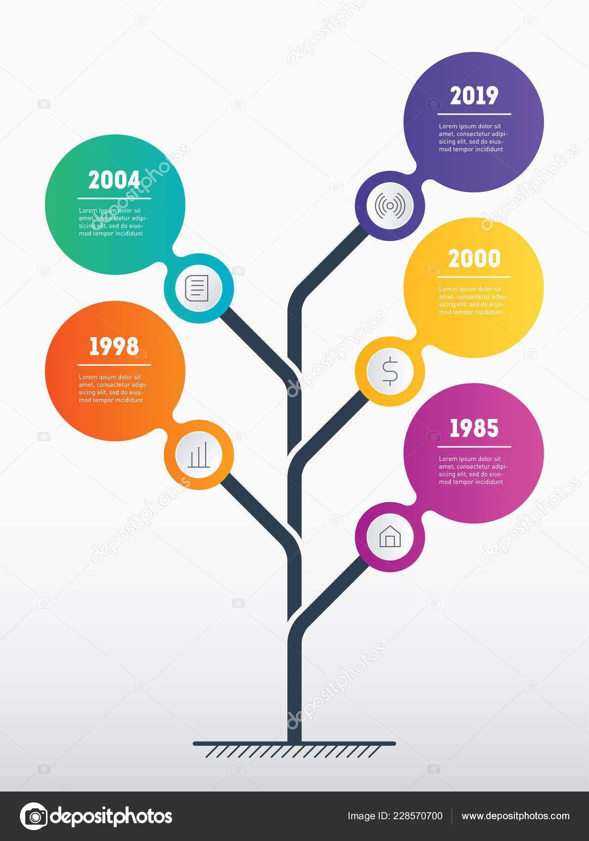 Business Presentation Concept Web Template Tree Leaves Info Chart
