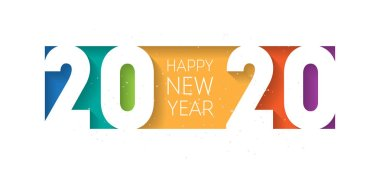 Happy New Year poster with colourful text on white background