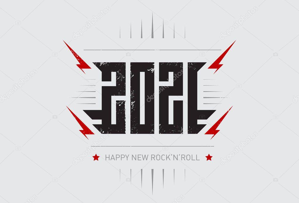 Happy New Rock N Roll 2021 Music Poster With Stylized Inscription Red Lightnings And Star Cool Print For T Shirt Apparels With Inscription 2021 T Shirt Design For New Year Party
