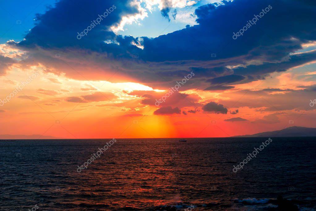 Amazing sunset over the sea