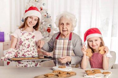 Grandmother with granddaughters in santa hats baking cookies stock vector