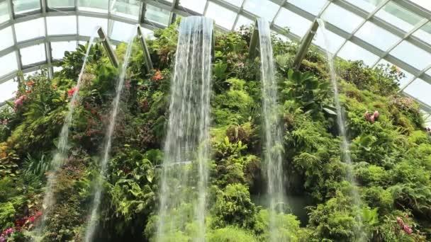Singapur – 23. června 2018: Vodopád v Dome mlžného lesa konzervatoře v Singapuru v letním dni