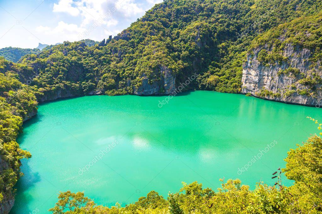 Thale Nai lagoon at Mae Koh island in Mu Ko Ang Thong National Park, Thailand in a summer day