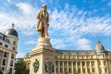 Statue of George Lazar in a summer day in Bucharest, Romania