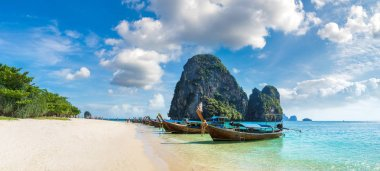 Panorama of Traditional long tail boat on Ao Phra Nang Beach, Krabi, Thailand in a summer day