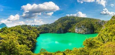 Panorama of Thale Nai lagoon at Mae Koh island in Mu Ko Ang Thong National Park, Thailand in a summer day