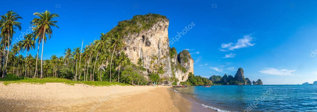 Panorama of Tonsai beach, Krabi, Thailand in a summer day