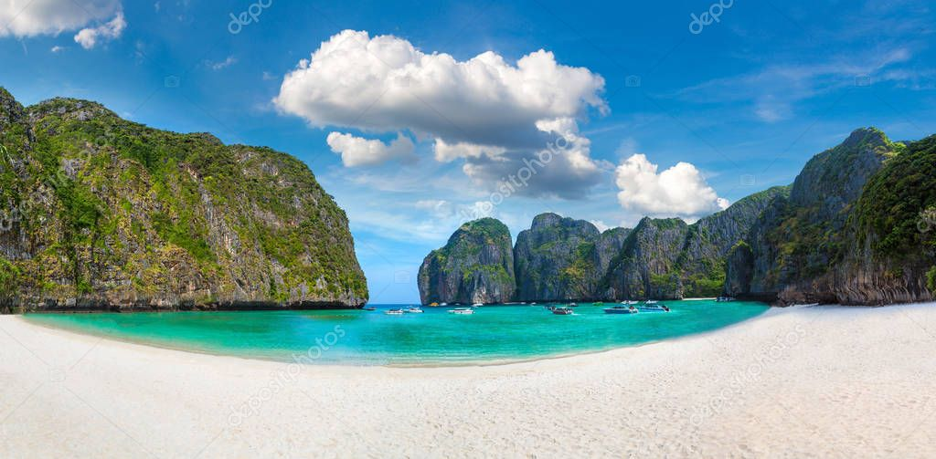 Panorama of Maya bay on Koh Phi Phi Leh island, Thailand in a summer day