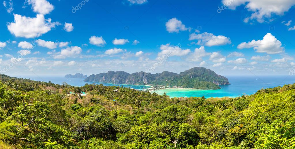 Panorama of Phi Phi Don island, Thailand in a summer day