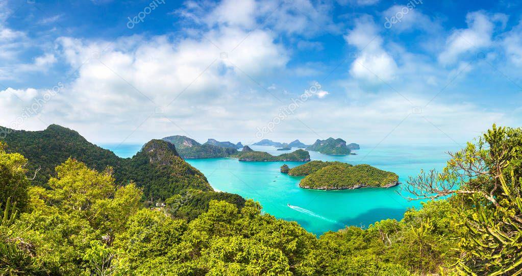 Panorama of Mu Ko Ang Thong National Park, Thailand in a summer day