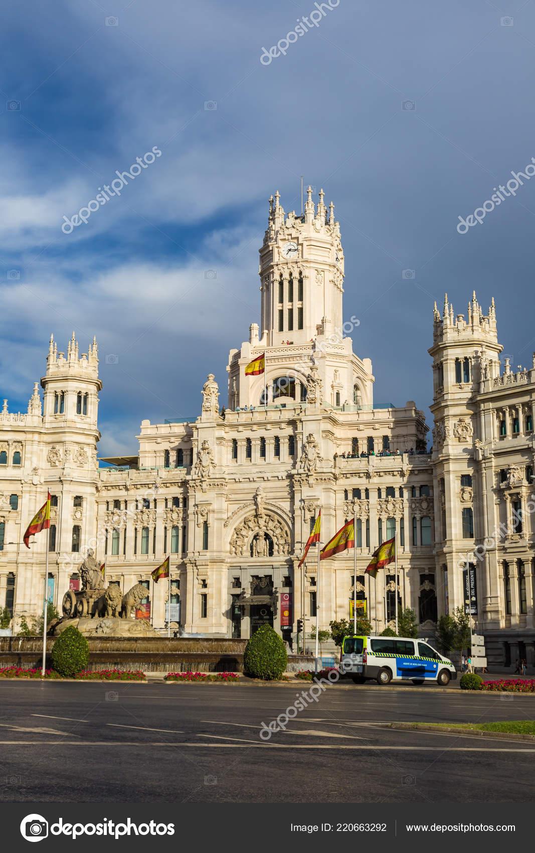 Madrid Espanha Julho 2014 Palácio Cibeles Fonte Cibeles