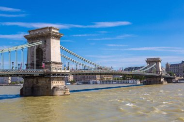 BUDAPEST, HUNGARY - JULY 22, 2017: Szechenyi Chain bridge in Budapest in Hungary in a beautiful summer day