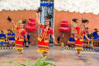 BALI, INDONESIA - FEBRUARY 28, 2020: Traditional balinese dance performed in GWK Garuda Wisnu Kencana Cultural Park on Bali, Indonesia stock vector
