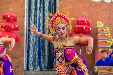 BALI, INDONESIA - FEBRUARY 28, 2020: Traditional balinese dance performed in GWK Garuda Wisnu Kencana Cultural Park on Bali, Indonesia