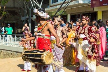 PINNAWALA, SRI LANKA - FEBRUARY 12, 2020: Traditional wedding in Sri Lanka in a summer day