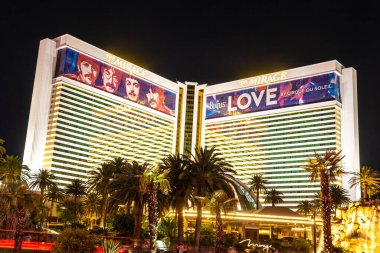 LAS VEGAS, USA - MARCH 29, 2020: The Mirage Hotel and Casino at night in Las Vegas, Nevada, USA