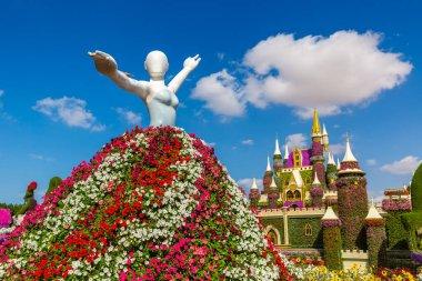 DUBAI, UNITED ARAB EMIRATES - MARCH 29, 2020: Dubai miracle garden in a sunny day , United Arab Emirates