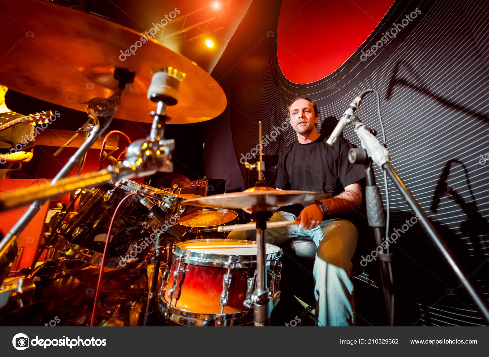 Drummer Playing Drum Set Stage Authentic Shooting High Iso