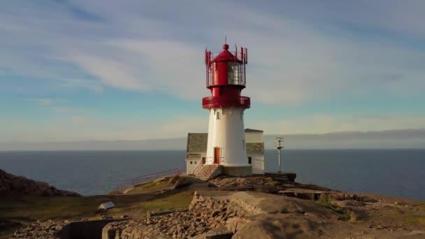 Pobřežní maják. Lindesnes Lighthouse is a Coastal Lighthouse at the Southern Tip of Norway.