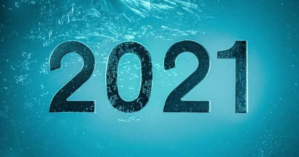 Szilveszter 2021 Téli háttér - Frost minta az üvegen.