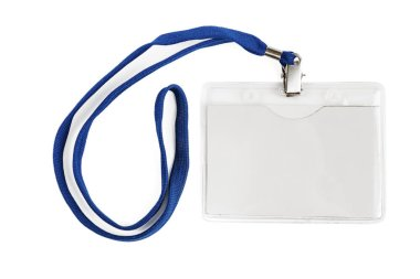 Badge identification white blank plastic id card isolated with clipping path stock vector