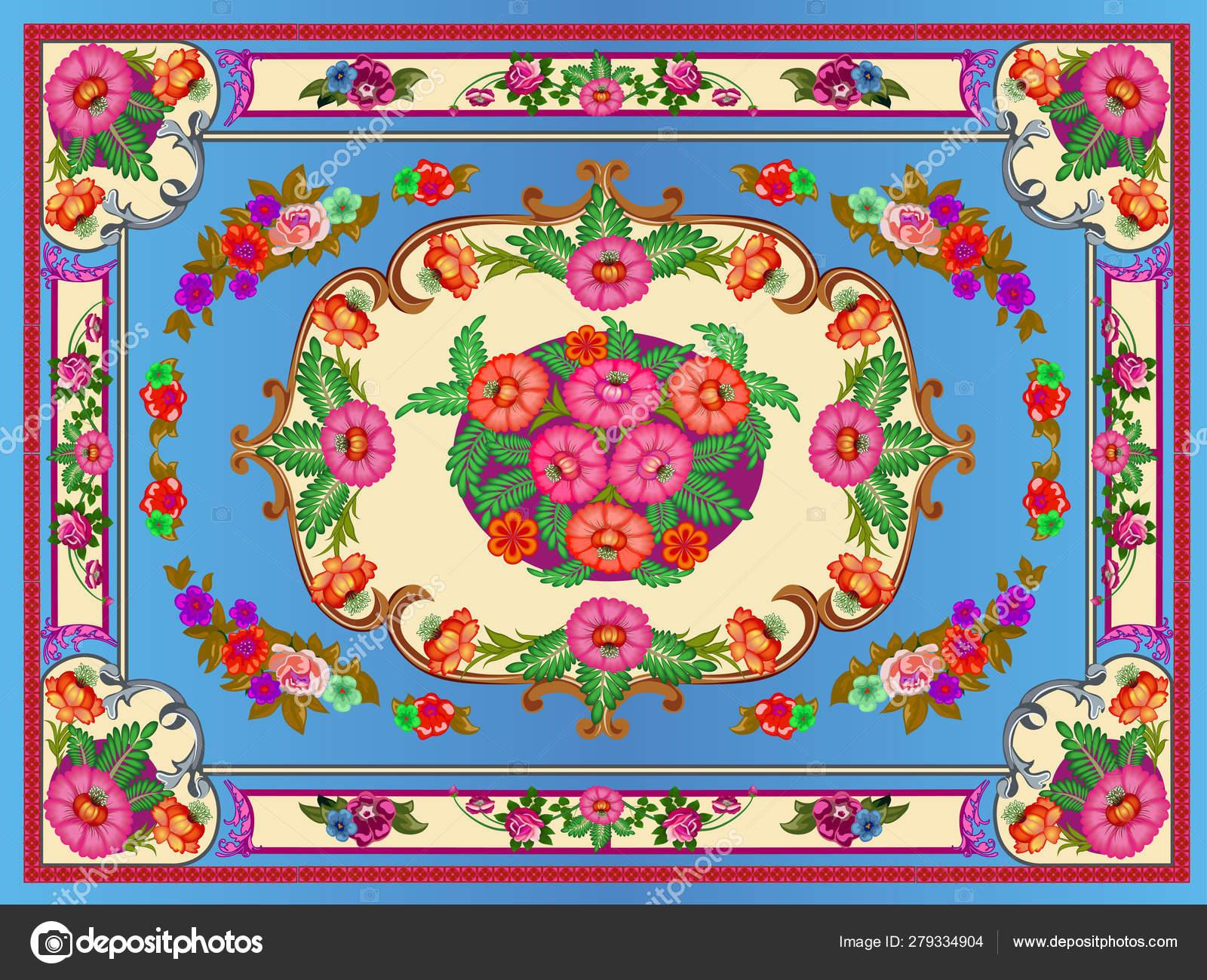Illustration Bright Multicolored Carpet Floral Ornaments Stock ...