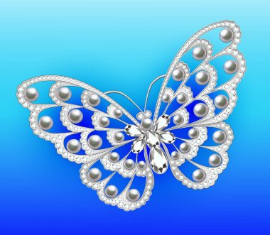 Illustration of a jewelry brooch butterfly with precious stones
