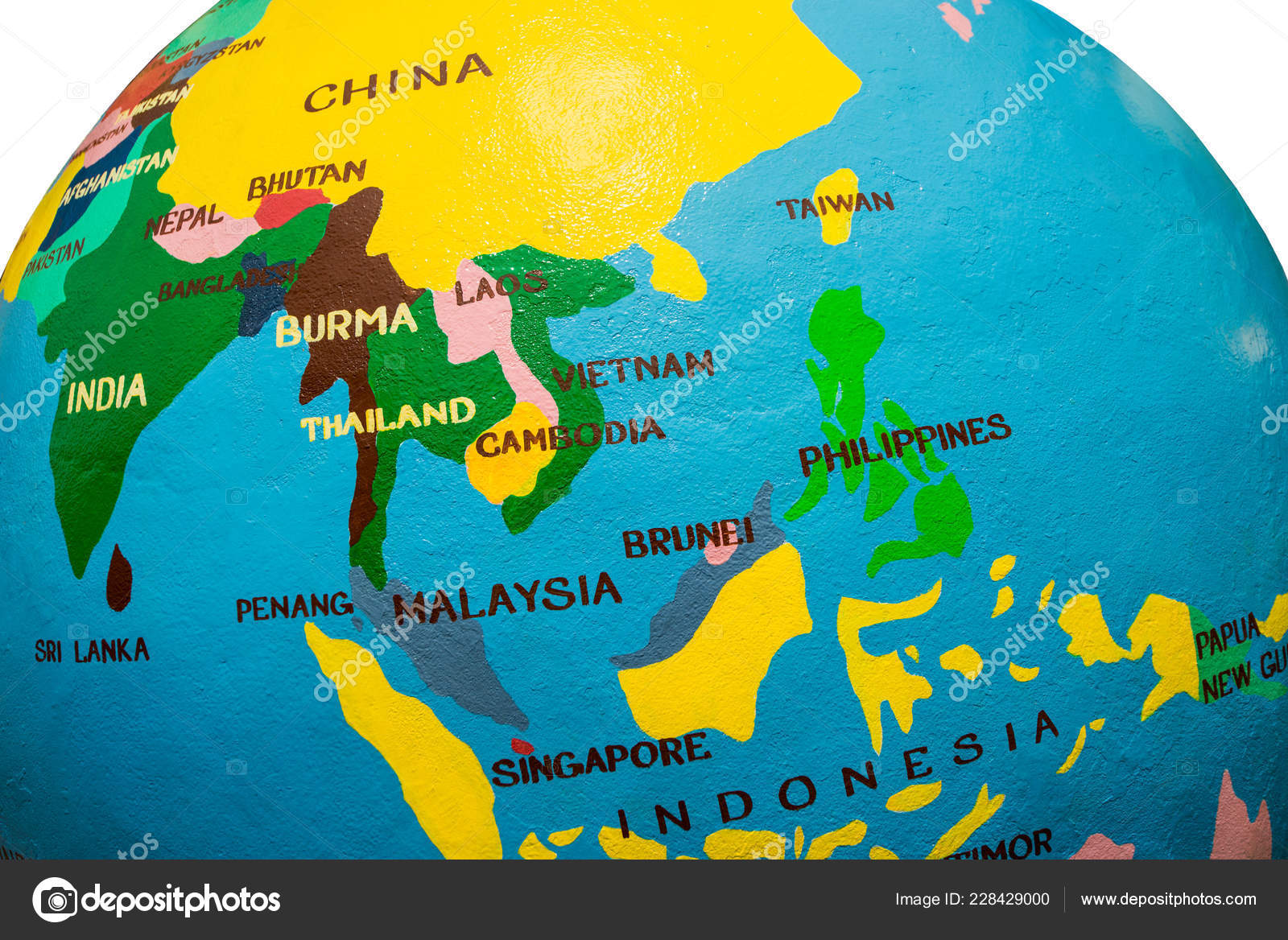 Map Of Asia Countries.Indochina Map Asia Bright Globe Asia Countries Stock Photo