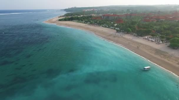 Aerial video luxury hotels, sandy beach, Nusa Dua, Bali