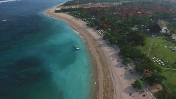 Aerial video luxury hotels, sandy beach, Nusa Dua, Bali