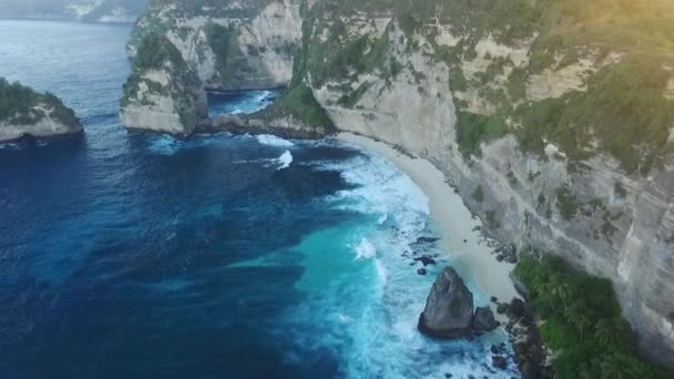 Aerial. Seascape, rocky coast, with wild beach, ocean