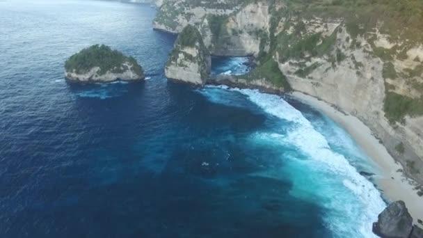 Aerial. Seascape, rocky coast, with wild beach, ocean