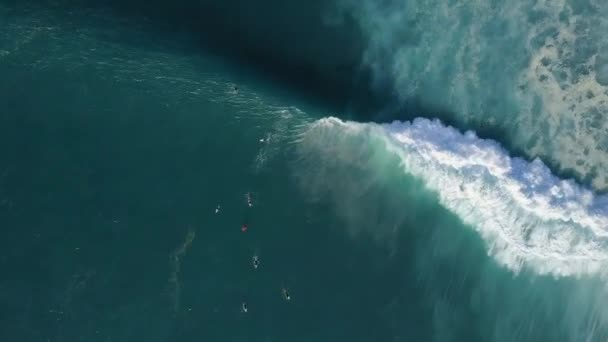 Aerial view of surfer and wave in ocean. Top view. Surfing and waves