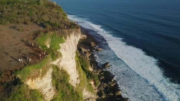 Aerial: Beautiful Top View from Cliff and Ocean