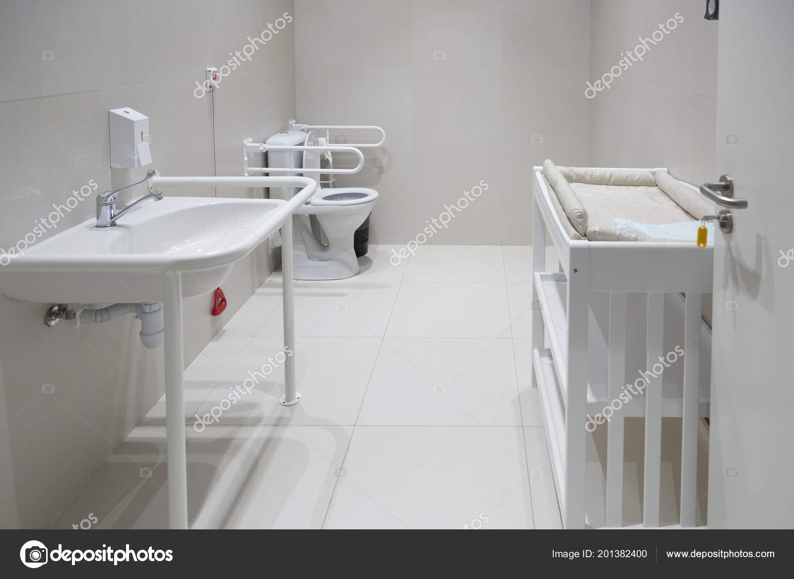 Bathroom Toilet Bowl Disabled Sink Changing Table Babies Stock - Disabled changing table