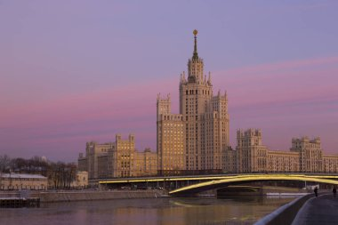 One of seven Stalin skyscrapers: the high-rise building on Kotelnicheskaya Embankment in sunset, Moscow