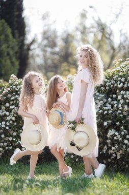 The older sister and her two younger sisters spend time outdoors in a beautiful Park with flowering shrubs on a Sunny spring day. Three sisters in pale pink dresses with straw hats in their hands on a background of flowers