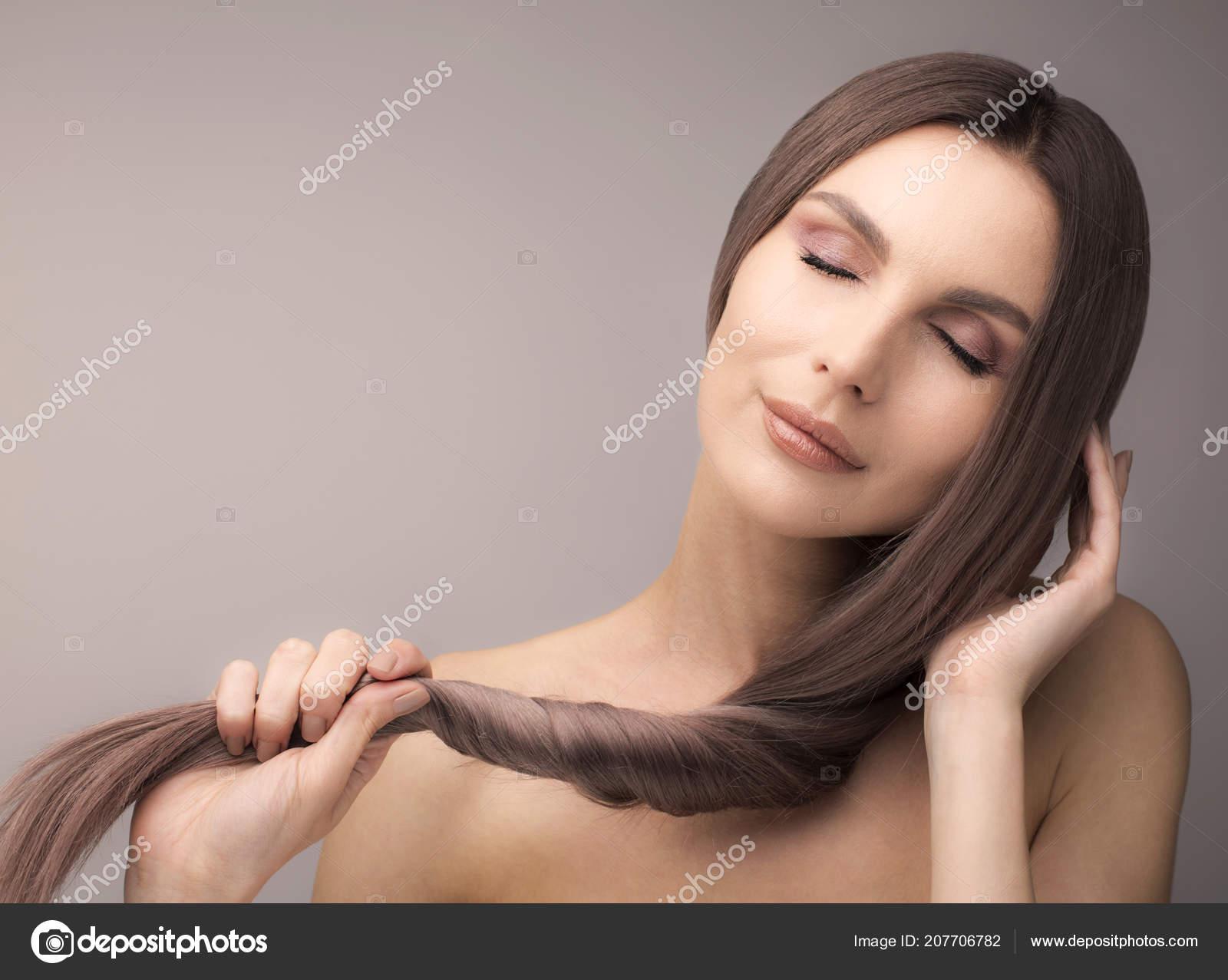Girl Hair Spa Enjoying Result Close Studio Shot Stock Photo