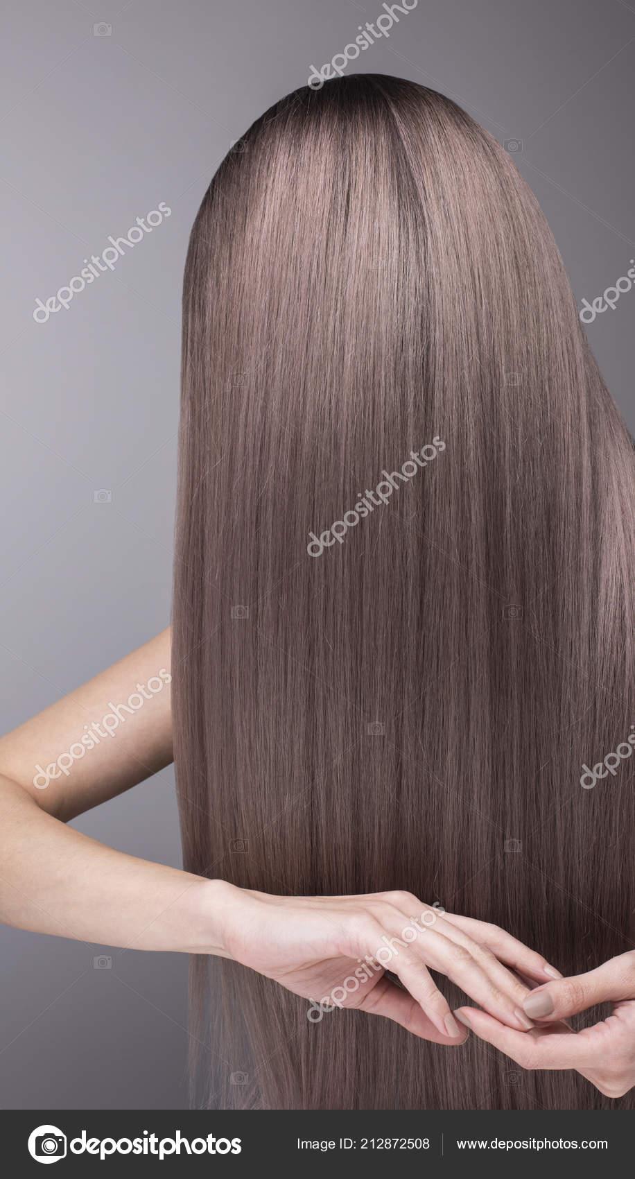 Muster Der Tief Lila Haarfarbe Starkes Und Glanzendes Haar Nach