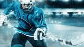 Lední hokej sportovce v přilbu a rukavice na stadionu s holí. Akční snímek. Sportovní koncepce.