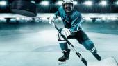 Lední hokejista sportovec v helmě a rukavice na stadionu s holí. Akční záběr. Sportovní koncept.