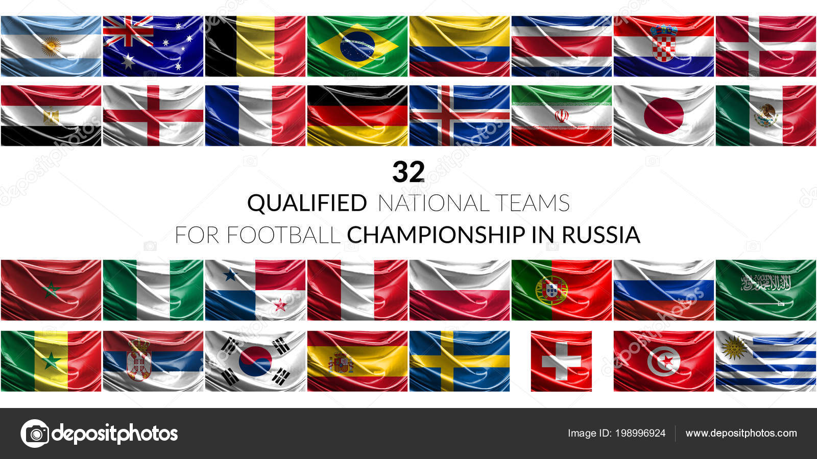 Flags Of Qualified Soccer Teams Stock Editorial Photo