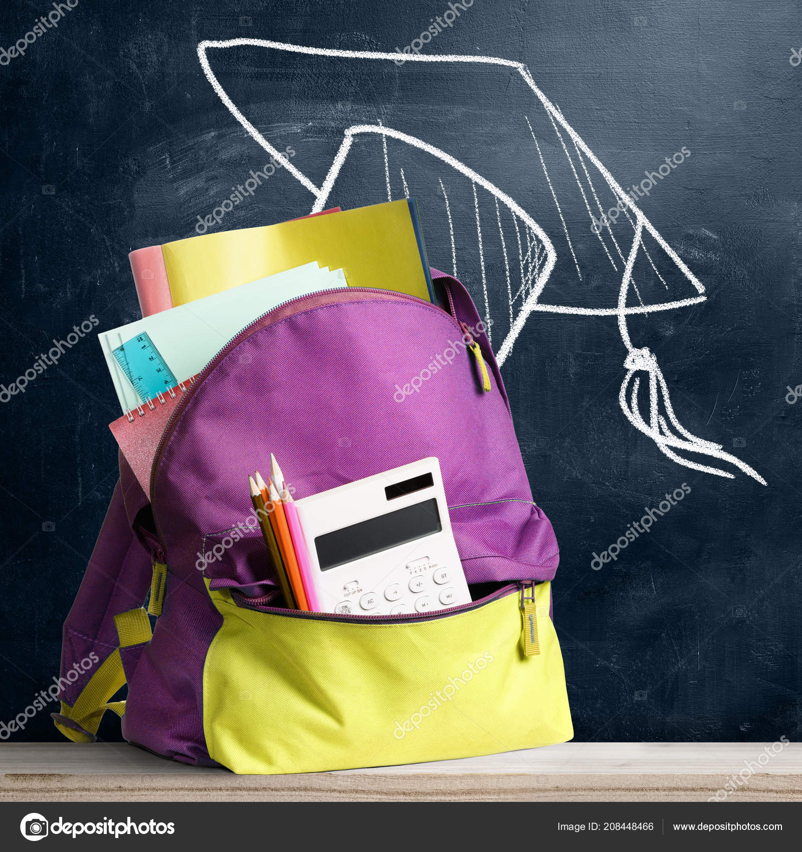 738ffe8574 Back to school shopping backpack. Accessories in student bag against  chalkboard — Photo by sergeypeterman