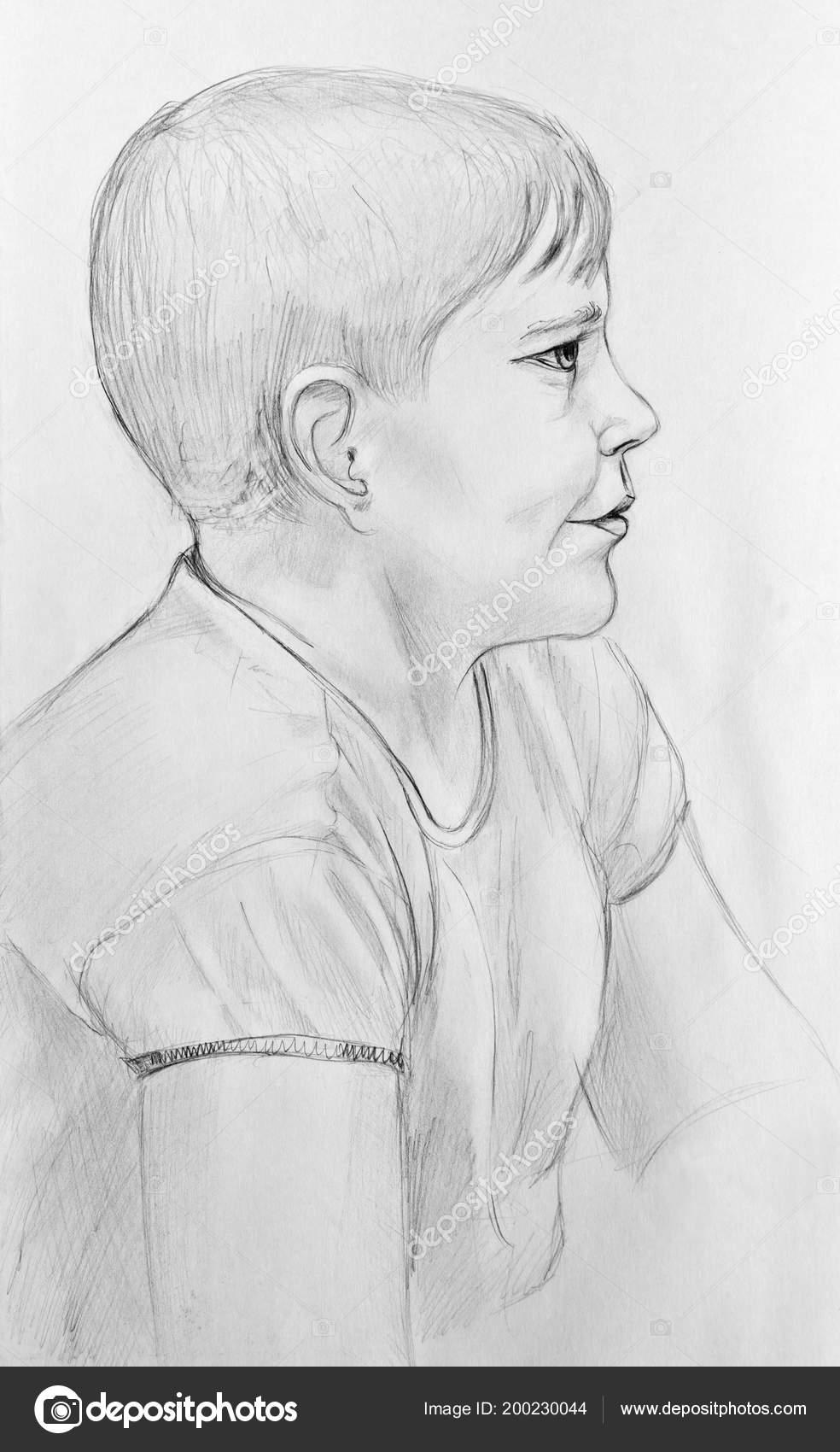 Portrait happy boy pencil drawing paper stock photo
